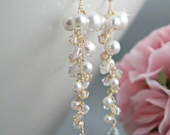 Pearl cluster earrings Bridal Earrings Crystal Pearl Jewelry Wedding Earrings. Cascading drop earrings, Swarovski champagne crystals gold