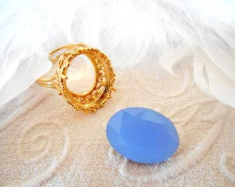 Matte Blue Crystal faceted 13 x 18 mm cabochon.