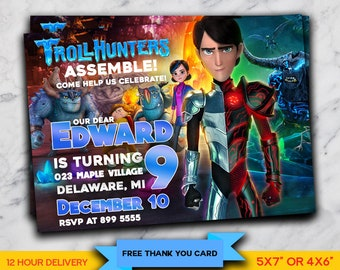 Trollhunters Personalized Birthday Party Invitation, Printable Digital File