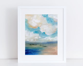 Modern Art Print, Landscape Art Print, Beach Print, Abstract Landscape, clouds, sky, Sea, Ocean, Water