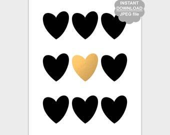 Black Gold Heart Wall Art, Black Heart Print, Heart Wall Art, Heart Sign, Heart Poster, Love Nursery Wall Decor 8x10 11x14 Instant Download