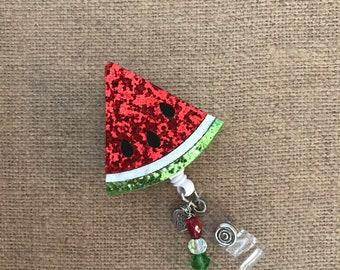 Glittery Watermelon Badge Reel