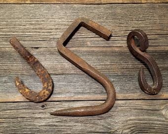 3 Old Iron Hooks / Vintage / Primitive / Rustic