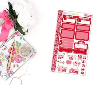 PERSONAL SIZE - Red Functional Sampler, Planner Stickers for the Erin Condren Life Planner, Sampler Sheet - [FS0002-PS]