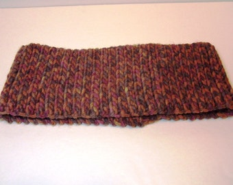 Thick wool-acrylic blend cowl hand crocheted autumn colors
