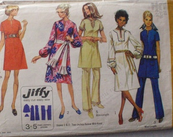 Vintage 70's Women's Sewing Pattern - Jiffy Dress and Pants - Simplicity 9057 - Size 10, Bust 32 1/2