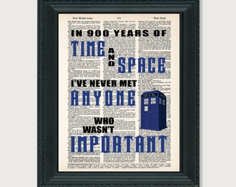 Dr Who In 900 years of time and space   print art dictionary page dictionary print