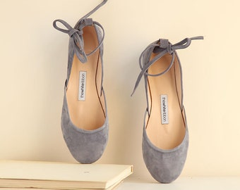 Pastel blue Nubuck Ballet Flats with Leather Ankle Ribbons | Classic Model | Standard Width | Cloudy Blue Mary Janes