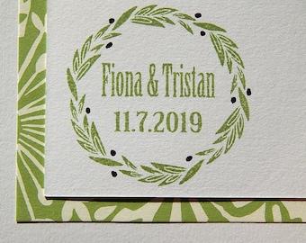 Custom Olive Wreath Olive Wood Stamp