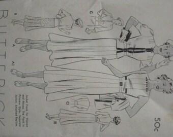 1930s Backless Sundress and Jacket Peplum Square Back Neckline Summer Sports Wear Butterick 7221 FF Bust 38 Women's Vintage Sewing Pattern