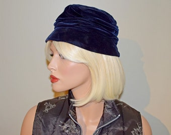 Vintage 1950's Navy Blue Velvet Cloche Hat with Purple Satin Bow, by BETMAR - Size 6-3/4