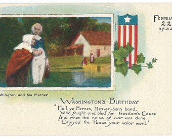 George Washington and his Mother Postcard, c. 1910