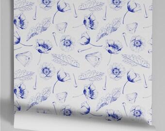 Popy blue wallpaper