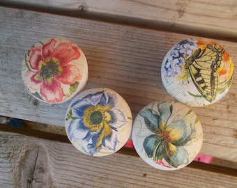 4 individual passion flower and butterfly wooden knobs
