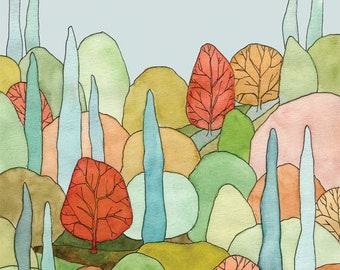 Lovely Landscape Art Print - print of watercolor trees