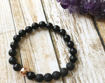 20% OFF Onyx and Rose Gold Hematite Essential Oil Diffuser Bracelet