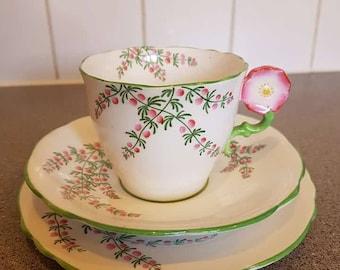 Rare Vintage Art Deco Aynsley Flower Handle Trio 1930s