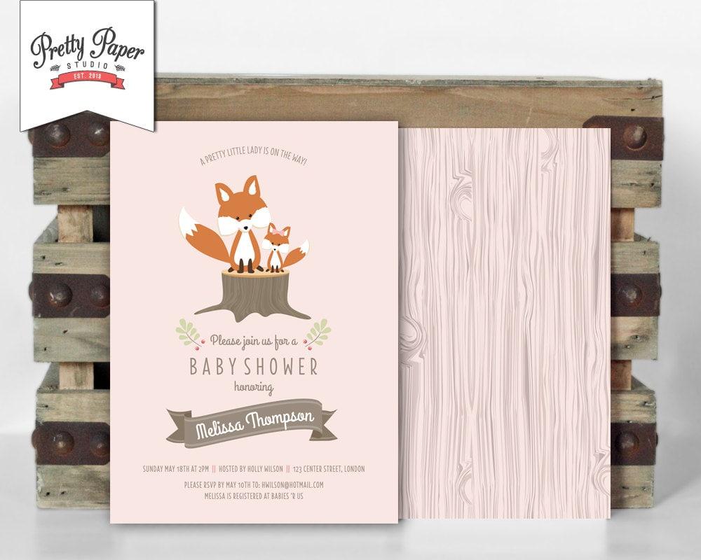 Woodland Baby Shower Invitation // Woodland Fox Invite // Baby