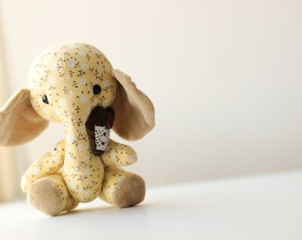 Toy elephant, animal sewn cotton toy, handmade gift, valentines day love gift, yellow elephant