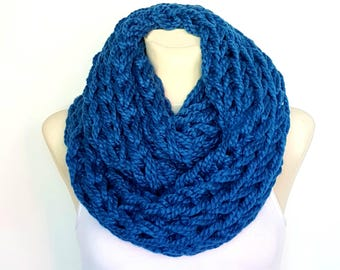 Knit Infinity Scarf Blue Knitted Scarf Women Chunky Knit Scarf Knit Cowl Scarf Blue Scarfs for Women Mom Gift from Daughter from Son