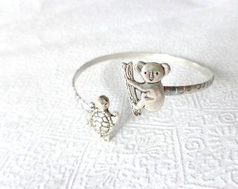 Koala wrap bracelet with a turtle, animal bracelet, charm bracelet, bangle