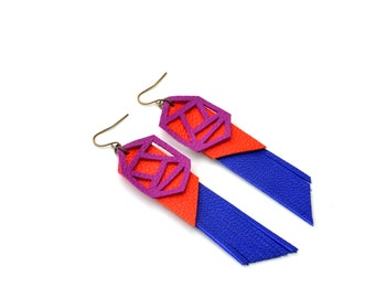Geometric Earrings, Blue Earrings, Fringe Leather Earrings, Orange Earrings, Triangle Earrings, Statement Earrings, Geometric Jewelry