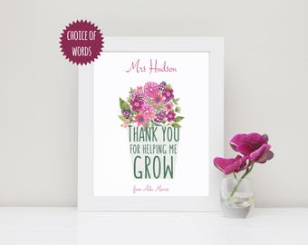Daycare Teacher Gift, Female Teacher Print, Thank You For Helping Me Grow, Teacher Gifts Personalized, Thank You Teacher, Appreciation Gift