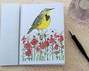 Western Meadowlark Indian Paintbrush Watercolor State Bird Blank Card Set Of Four