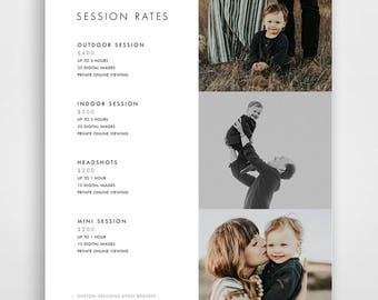 Photography Pricing Template, Photography Price List, Photography Price Sheet, Photographer Pricing, Photoshop Template, PSD Layout