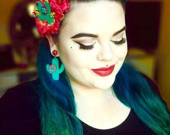 Cactus Sunset Paradise Hair Flower - Teal/Red - Rockabilly - 1950s - Pinup - Retro