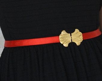 Red Waist Belt - Gold belt - Bridesmaids Belt - Stretch Maternity Belt - Party Dress Belt - Evening Dress Belt - skinny belt - Dainty belt