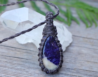 Sodalite Gemstone Necklace / Waxed Linen / Natural Pendant