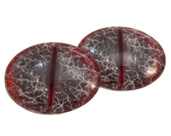 Red and Black Dragon Oval Glass Eyes - Choose Your Size: 13mmx18mm, 18mmx25mm, 30mmx40mm - Art Doll Eyes - Fantasy, Jewelry, Sculpture, Myth