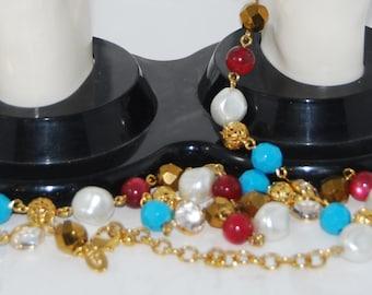 "Vintage Joan Rivers Crystal Bead Bezel Set Gold Tone Filigree Beaded Necklace 48"" Long"