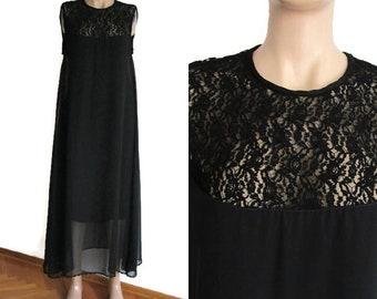 Dress Black, Black Lace Dress, Long Dress, Maxi Dress, Elegant Dress, Chiffon Dress, Lace Dress, Sleeveless Lace Dress, Little Black Dress,