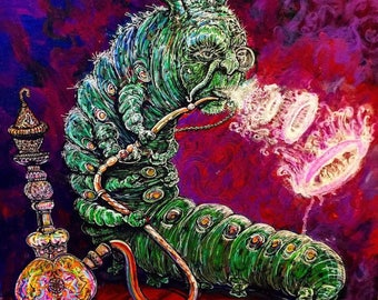"""Absolom Caterpillar Print! Alice in Wonderland (12"""" by 12"""" and 100 pound paper)"""