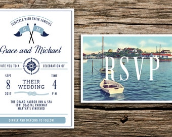Vintage Harbor Wedding Invitation and Postcard RSVP // New England Wedding Invitation Cape Cod Invitation Preppy Postcard Lighthouse Navy