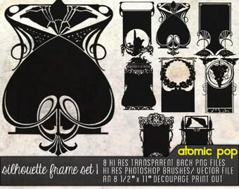 Instant Download // Art Nouveau Silhouette Frames Digital File Photoshop Brushes, Decoupage, and Vector File
