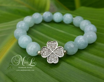 Silver CZ Good Luck Charm/Clover with 10mm Gemstone Beads