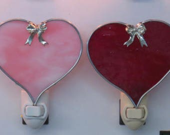 Heart Nightlights - Red Heart and Pink Heart Nightlights Ready to Ship - Valentine Hearts with Bow