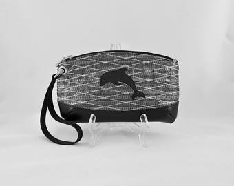 Dolphin Sailcloth Wristlet, Black, Gray Anchor Lining, Recycled Carbon Fiber Sail Bag