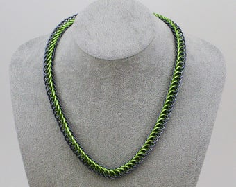 Half Persian 4in1 Chainmaille Necklace / Lime and Ice