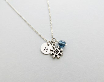 Snowflake Initial Necklace Personalized Hand Stamped - with Silver Snowflake Charm and Custom Bead