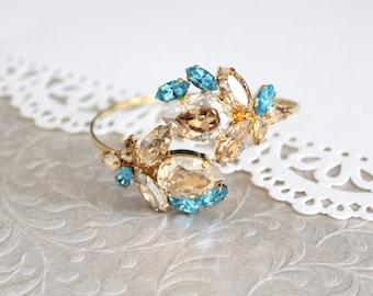 Bridal bracelet, Bridal jewelry, Crystal bracelet, Turquoise crystal Bracelet, Champagne crystal, Swarovski bracelet, Gold cuff bracelet
