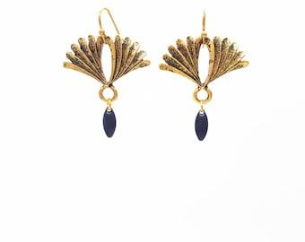Boucles d'oreilles éventail, laiton nickel free, légères, boucles bohème, bohème, doré, géométrique, bijoux fait-main, absinthe bijoux