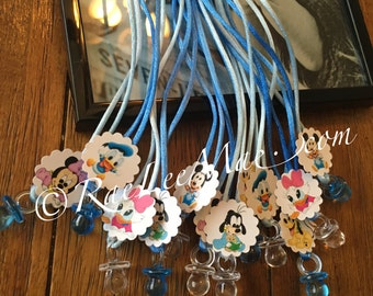 40 Baby Disney mixed Characters pacifier necklace Don't Say Baby baby shower game/disney babies/baby disney theme shower/baby minnie/mickey