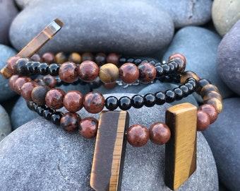 Wrap Bracelet Onyx, Agate, and Tigers Eye