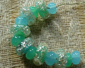 Lampwork Glass Beads by Catalinaglass SRA Cool Splash of Water