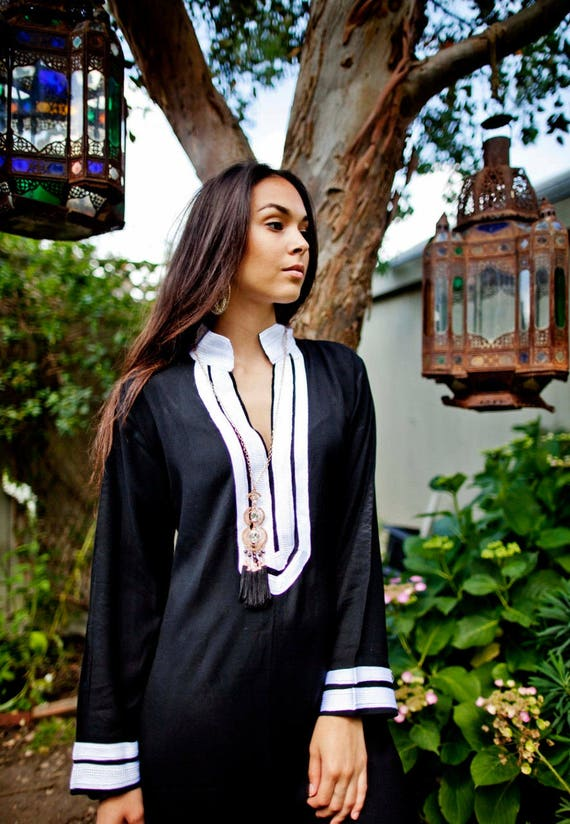 Kaftan, Caftan, Mariam Black & White Kaftan - Moroccan kaftan, loungewear,resortwear, Abayas, beach cover up, beach dress, maxi dres
