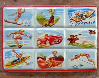 Watercolor Paint Box, Portable Tin, Page London, Lithograph Images, Made in England, Sports Activities, Vintage, 1950's